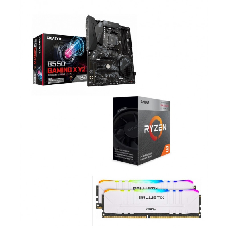 Kit Upgrade PC AMD Ryzen 3 Pro 4350G Gigabyte B550 GAMING X 16 Go Rgb