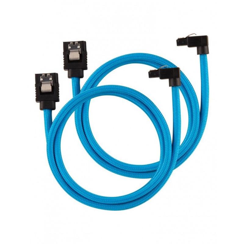 Câble CORSAIR Premium gainé SATA 6Gbps Bleu 60cm 90°