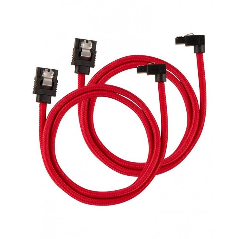 Câble CORSAIR Premium gainé SATA 6Gbps Rouge 60cm 90°