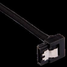 Câble gainé Premium connecteur à 90° SATA 6Gbps 30 cm — noir